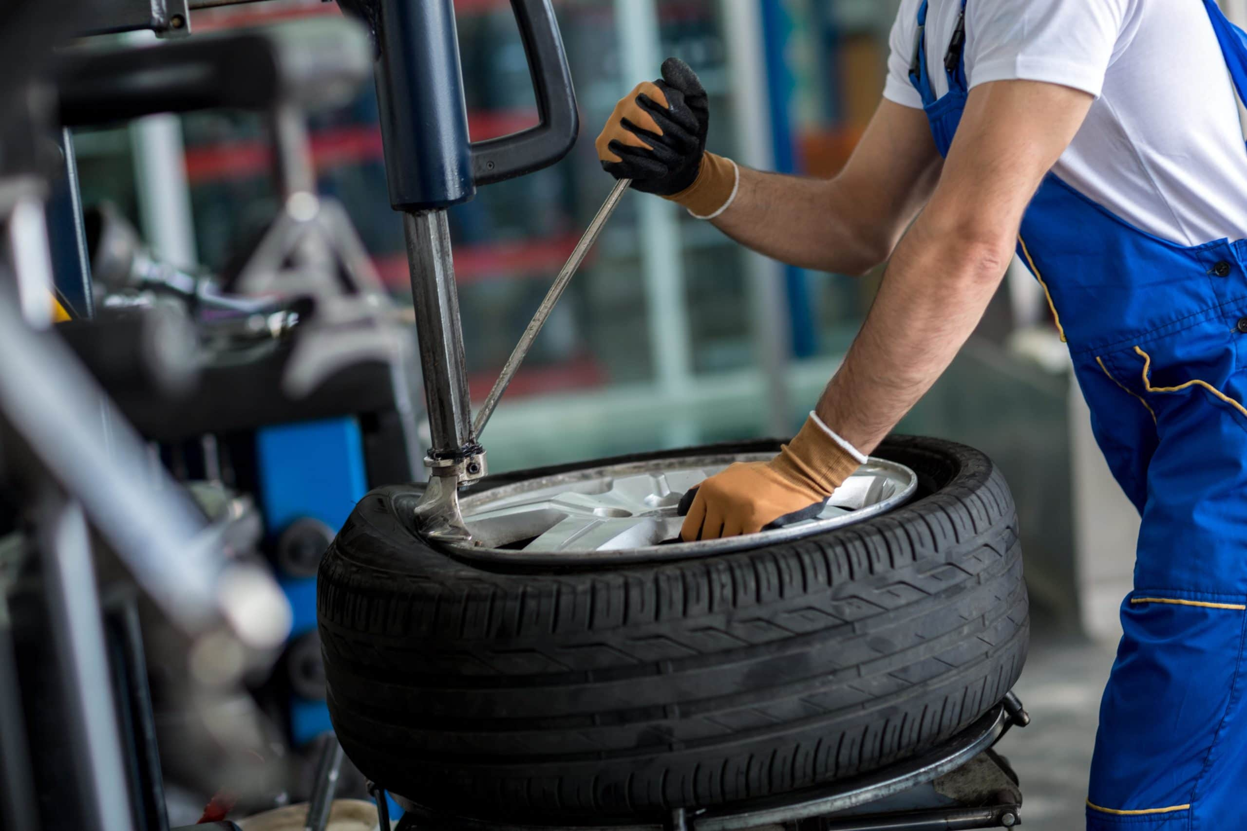 Tyre check during gold service at Dumfries MOT